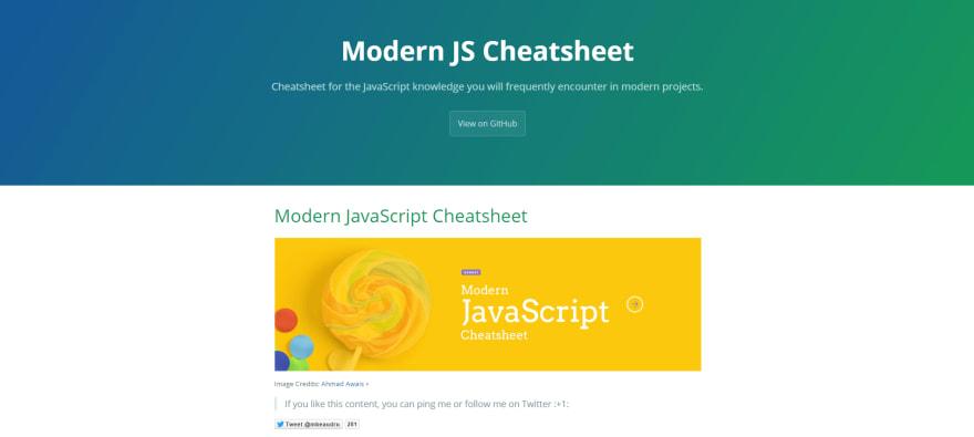Modern JavaScript Cheatsheet