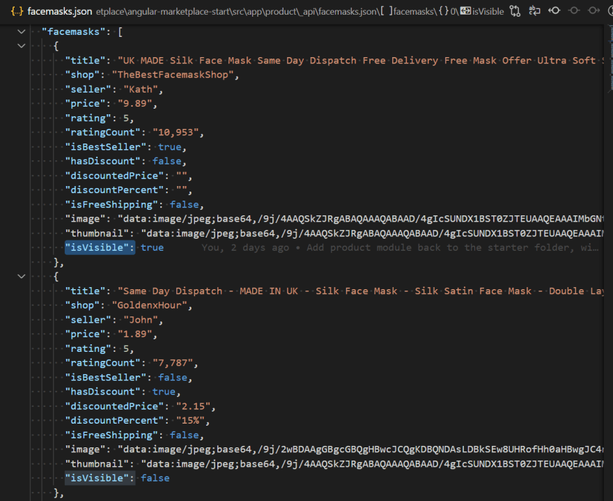 Snippet of  facemasks.json to illustrate isVisible key
