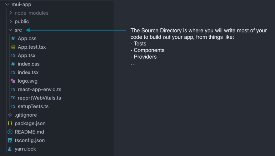 Source Folder Screenshot. The source directory is where you will write most of your code  , containing things such as: Tests, Components, Providers etc...