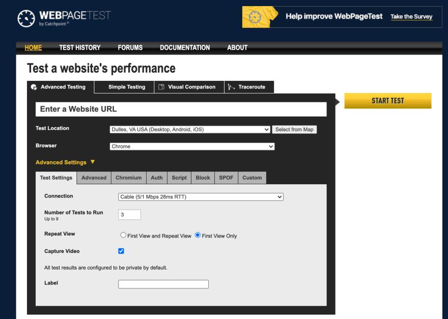 Webpage test landing page screenshot.
