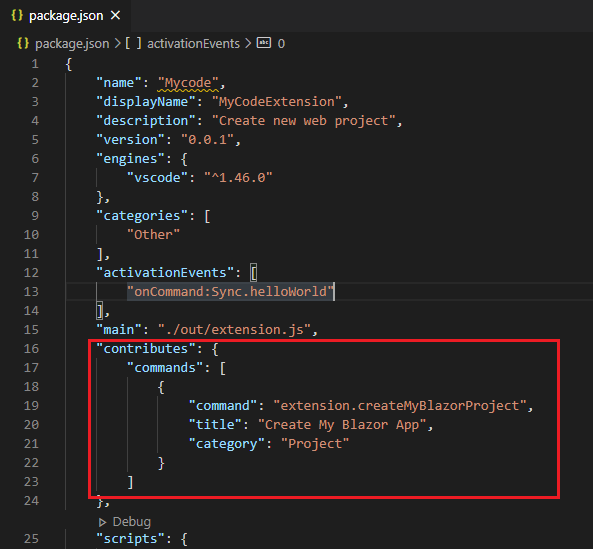 Add the command in the package.json file under the Contributes attribute to create a new command in the VS Code palette