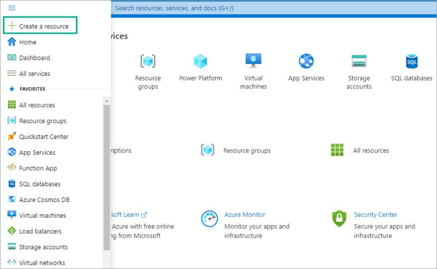 Create a resource in Azure Portal