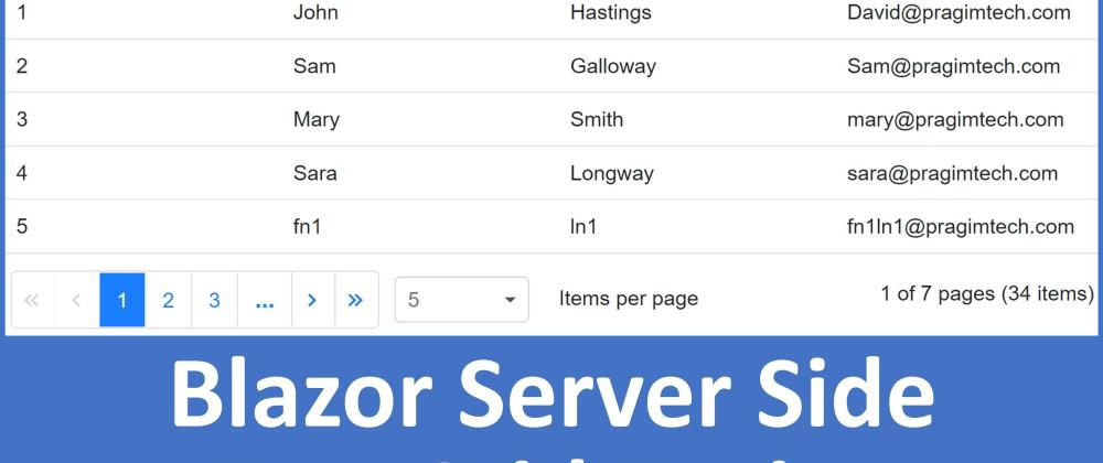 Cover image for ASP.NET Core -Blazor Datagrid server side paging