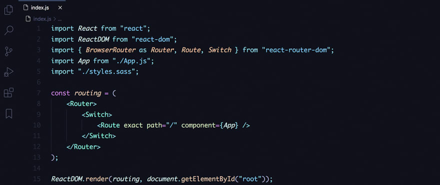 React code snippet with the August - In Bed By 7pm Darker theme