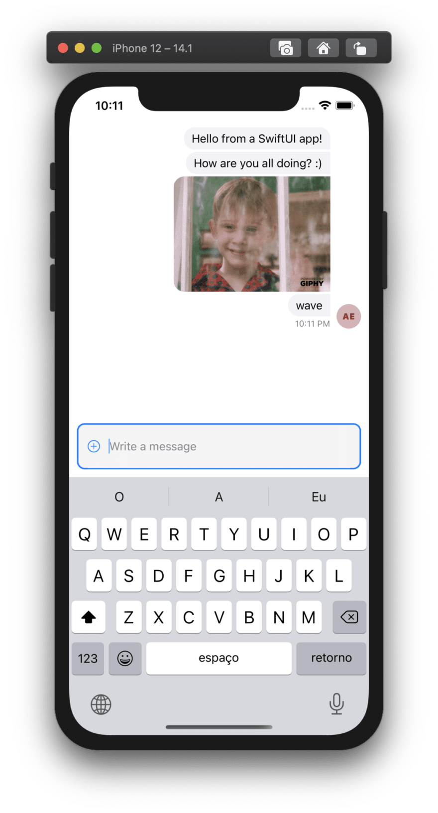 Image shows a chat screen running inside a SwiftUI app
