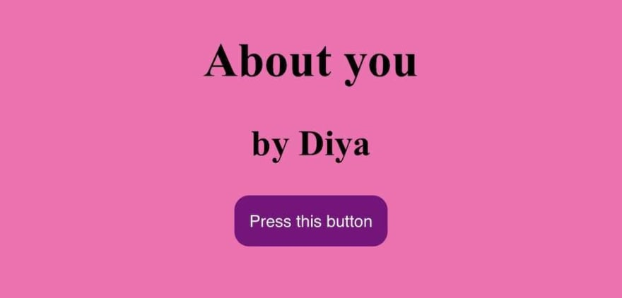 Screenshot of diya2021.1thingaweek.com that starts with a pink background and a purple button.