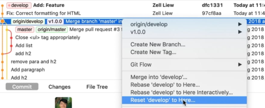 Reset option in the contextual menu