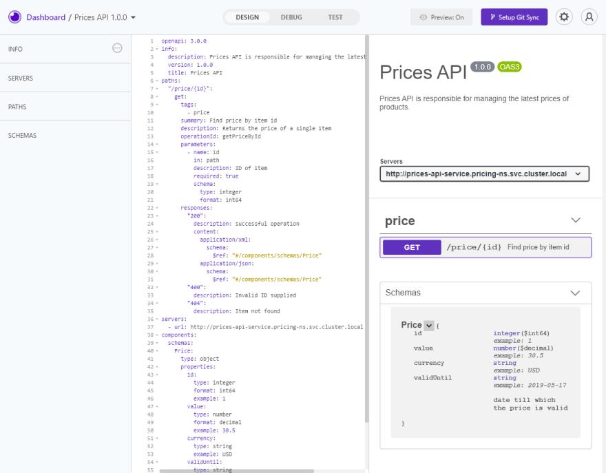 OpenAPI spec of Prices API