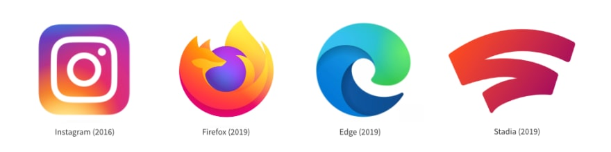 Instagram rebranded its product identity away from pure flat design in 2016. In 2019 multiple companies followed this path.