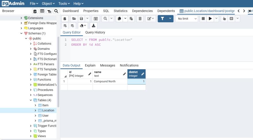seeded database in pgAdmin