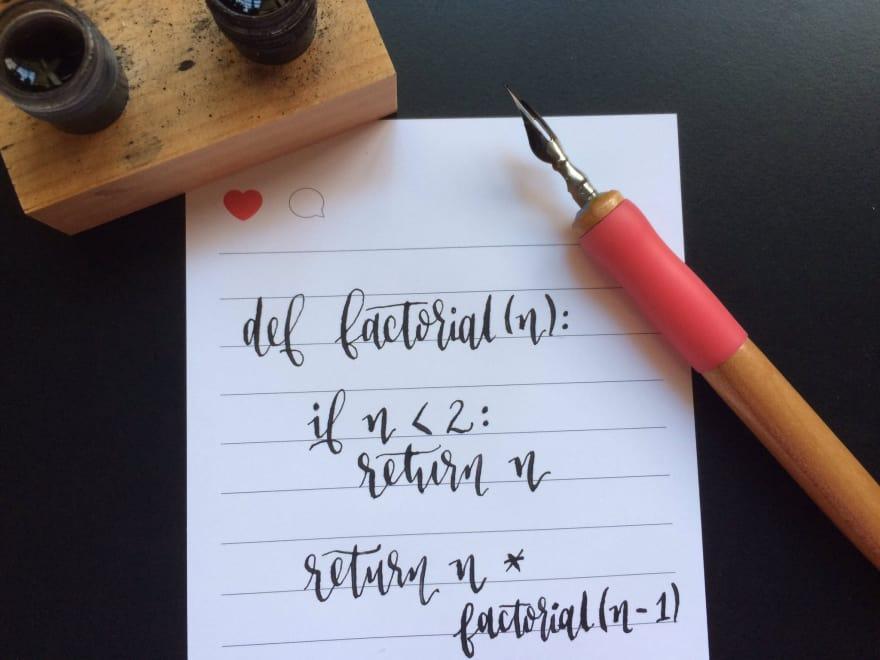 recursion written in cursive