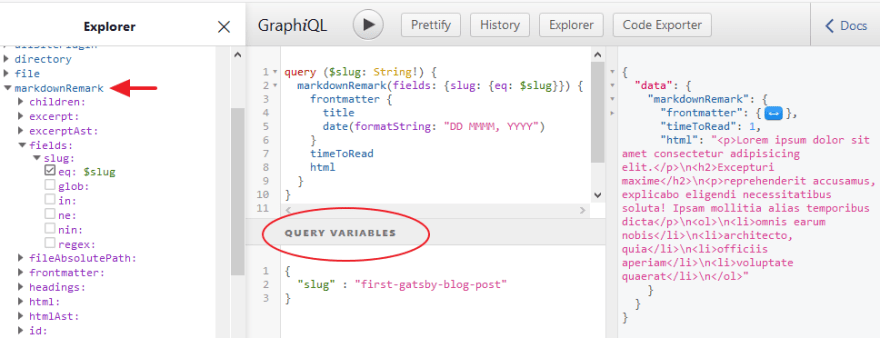 query variables