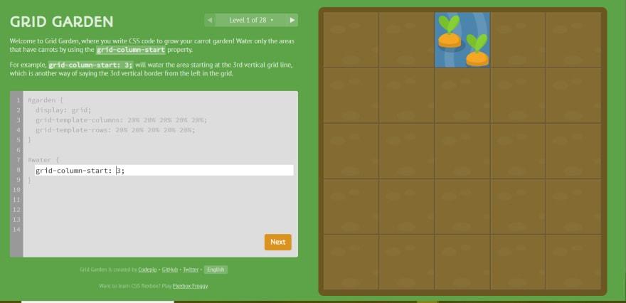Screenshot of CSS Grid Garden