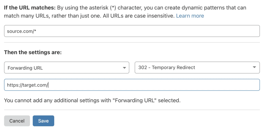 Redirect domain page rule