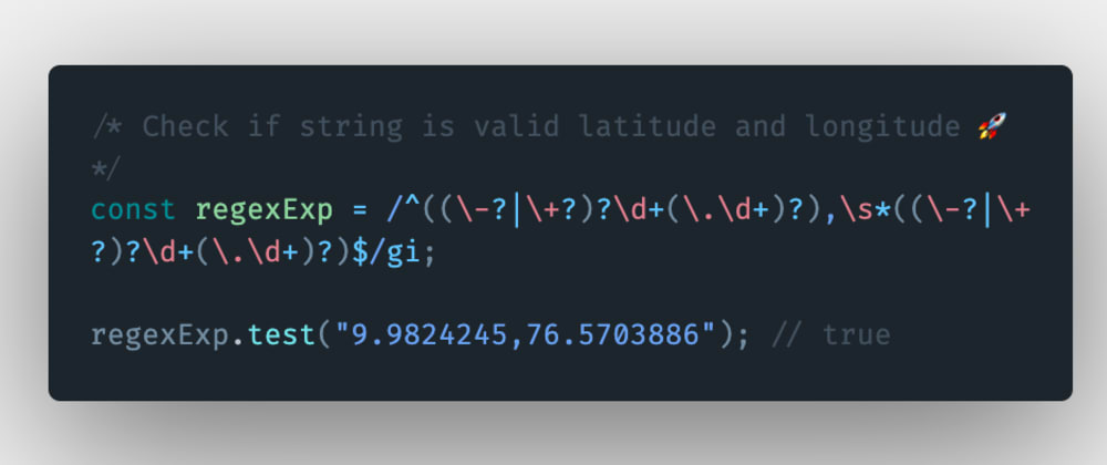 Cover image for How to check if a string is a valid latitude and longitude combination in JavaScript?