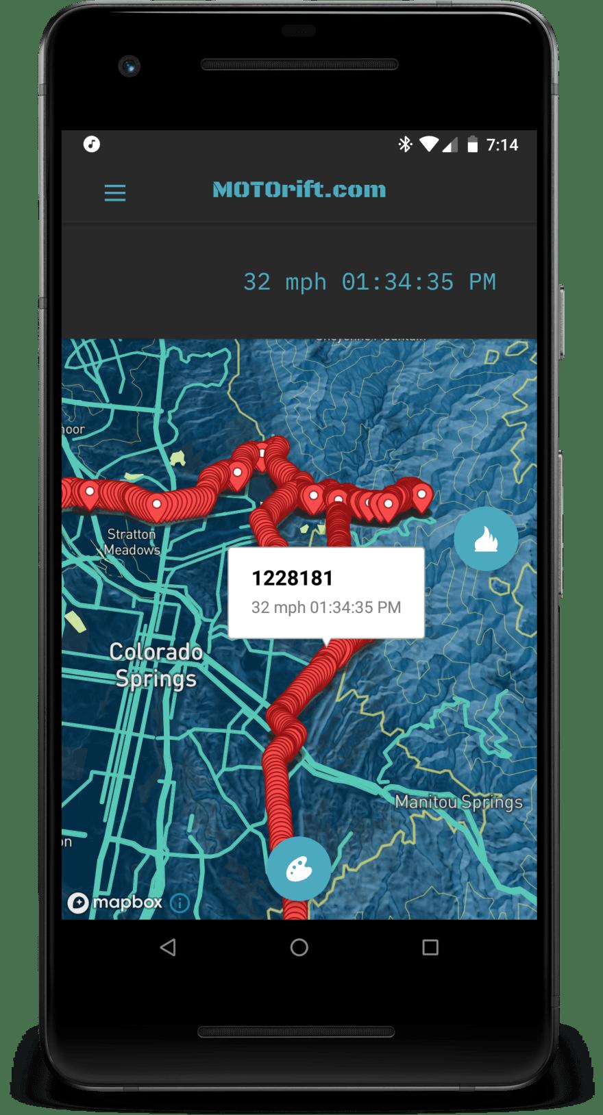 MOTOrift app map screen point map
