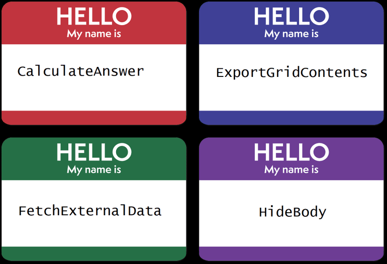 "Four ""Hello my name is"" nametags with the words ""CalculateAnswer"", ""ExportGridContents"", ""FetchExternalData"", and ""HideBody"""