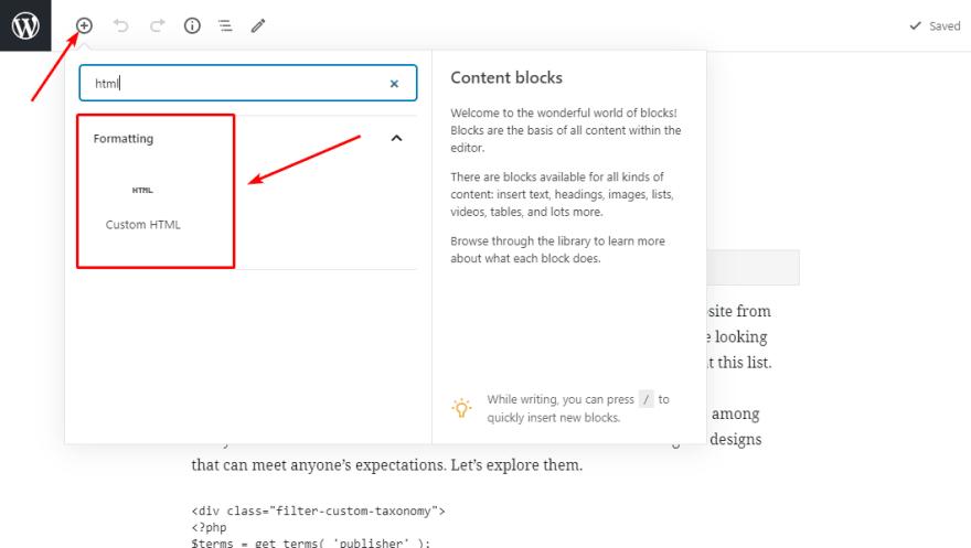 Add a Custom HTML block in Gutenberg editor