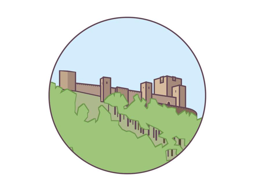 Illustration of the castle in Jaen, Spain