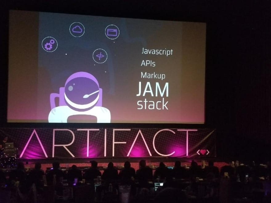 Picture during Divya's presentation about JAMstack