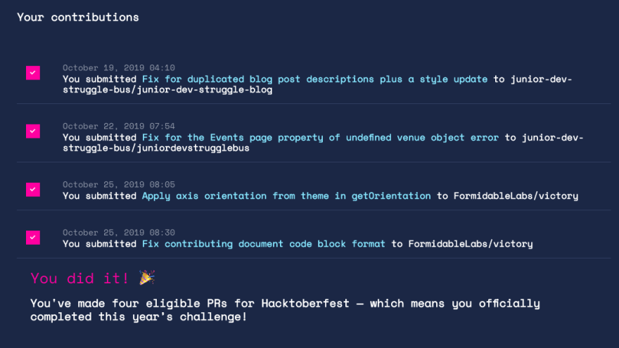 Screenshot of my contributions made during Hacktoberfest