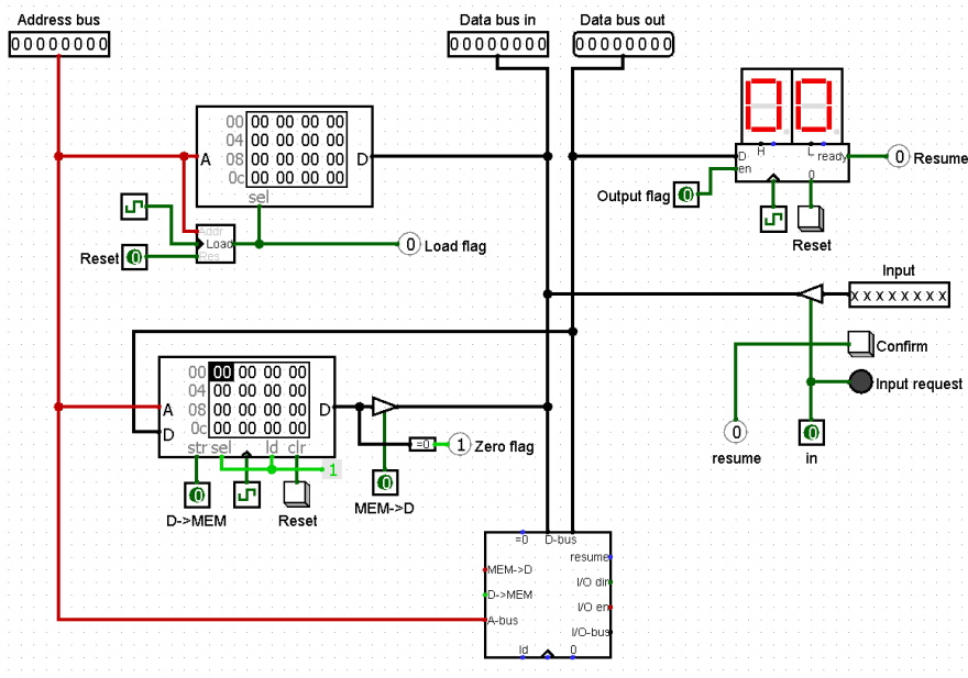 Computer layout with parts