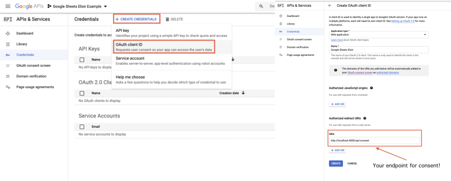 Add redirect uri to the google console project