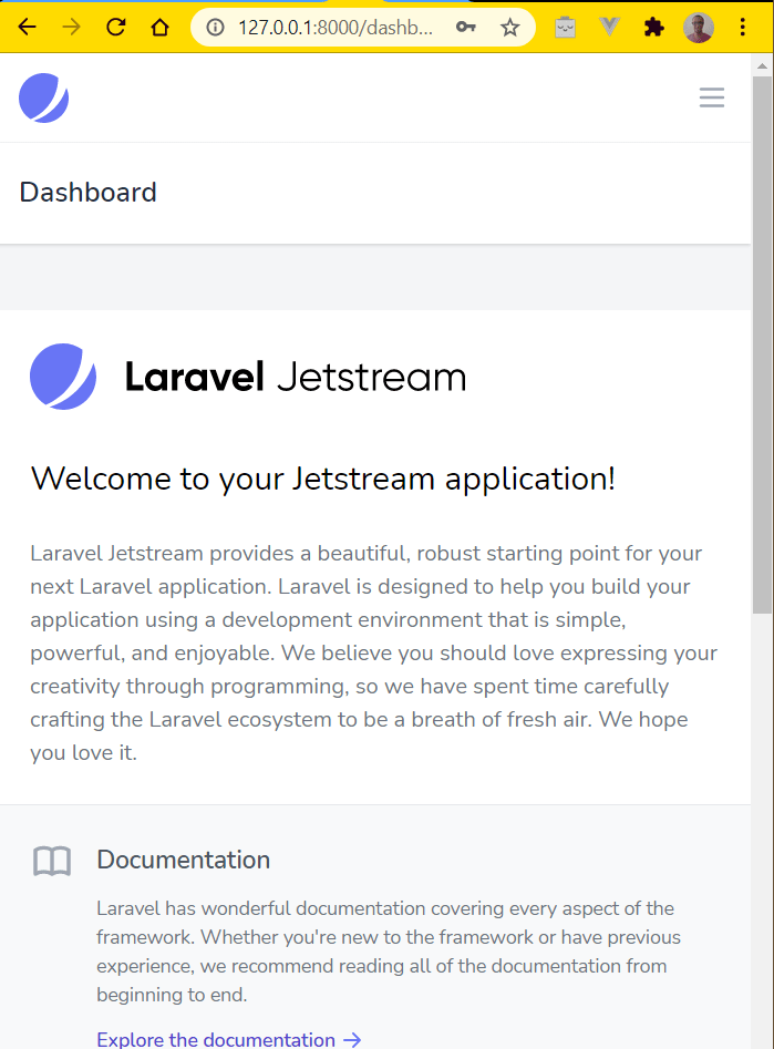 Dashboard after login