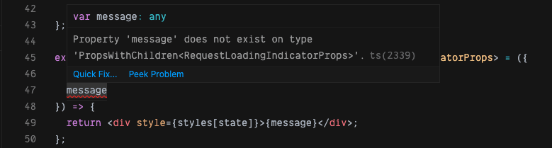 a component with an error message over the message prop