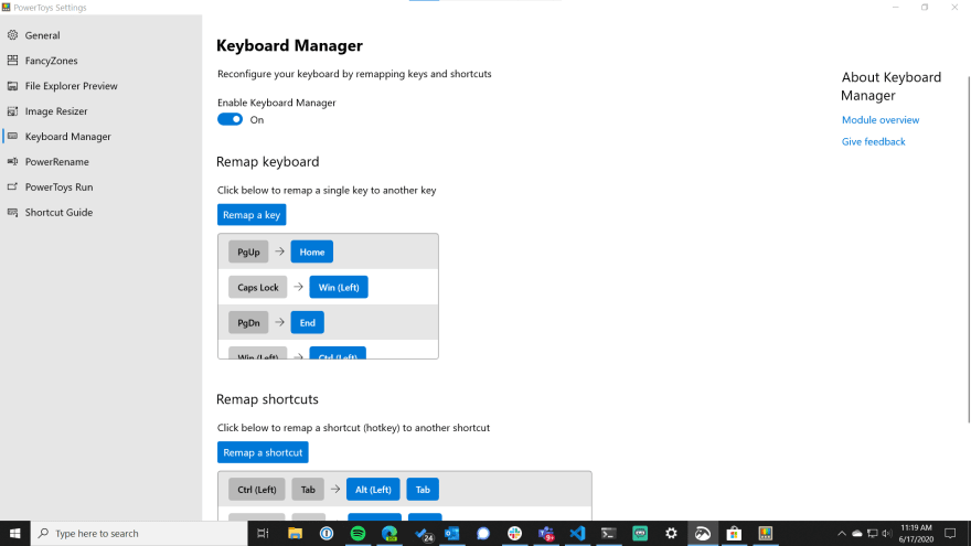 powertoys keyboard manager