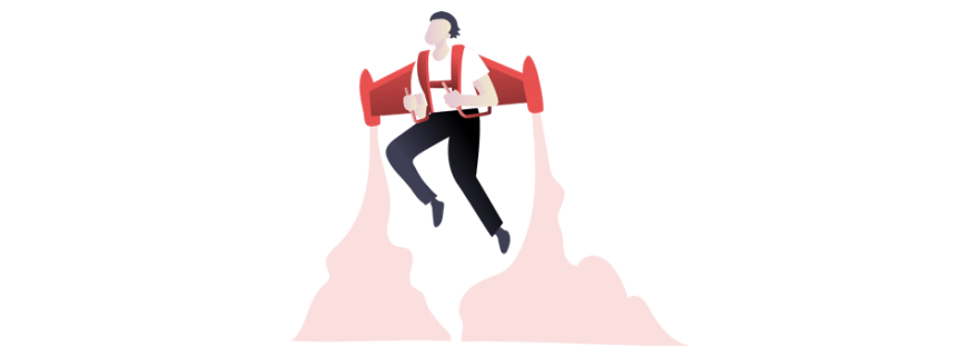 illustration of person in jetpack