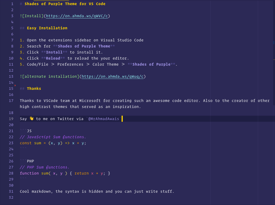 Shades of Purple for VS Code