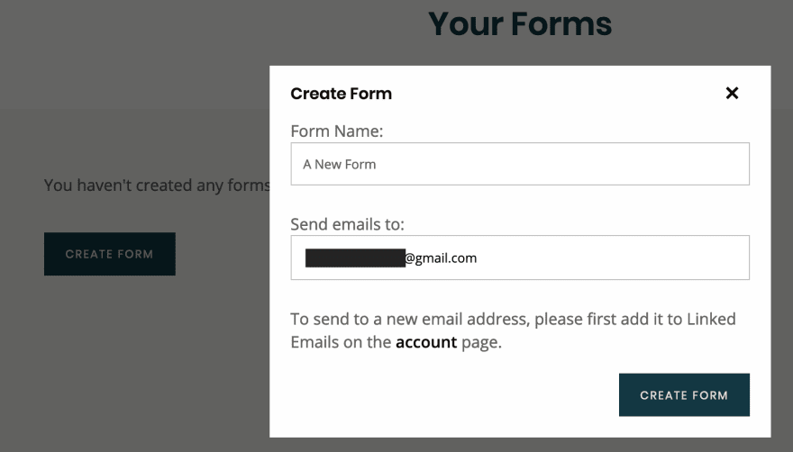 formspree configuration