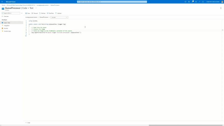 Screenshot showing the code for the Azure Function