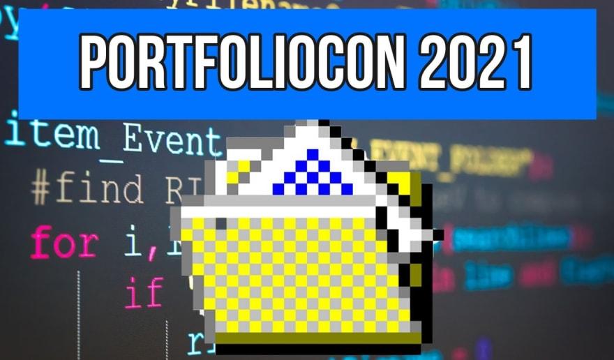 pixelated manila folder with portfoliocon text