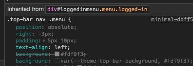 CSS code snapshot