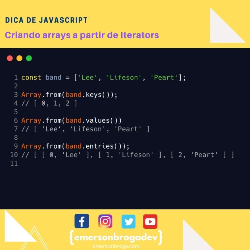Criando arrays a partir de Iterators