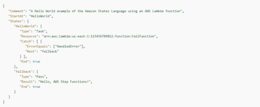 AWS Step Functions: Transition to a fallback state example