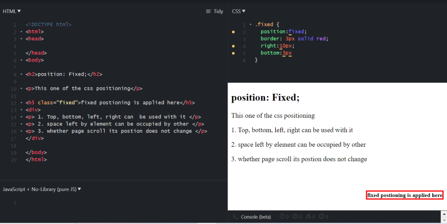 CSS Fixed property Demonstration