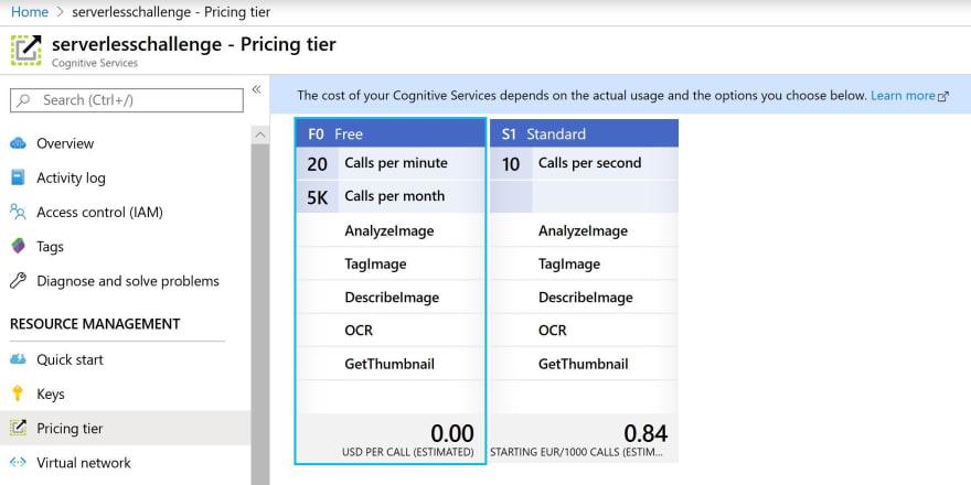 Price Tier Screenshot
