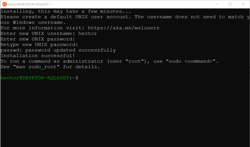 Screnshot of console configuring Ubuntu for the first time