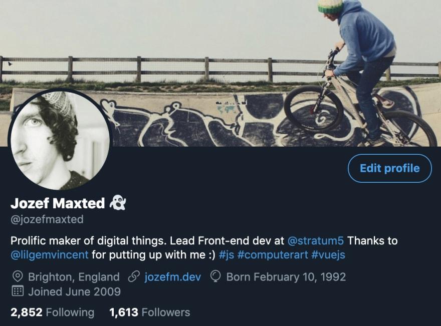 @jozefmaxted Twitter bio