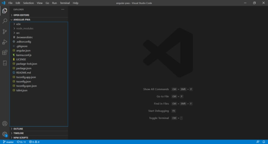 Open VSCode on angular-pwa folder