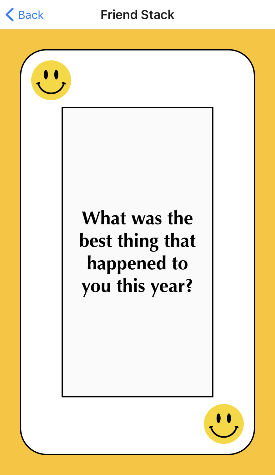 """Playing card with the question, """"What's the best thing that happened to you this year?"""""""