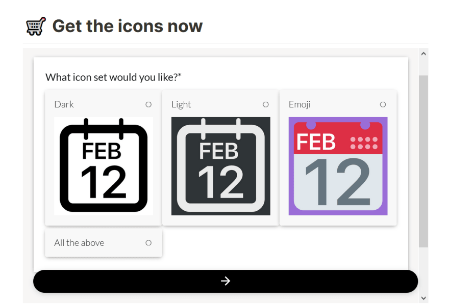 Previewing and picking an icon set in Paperform