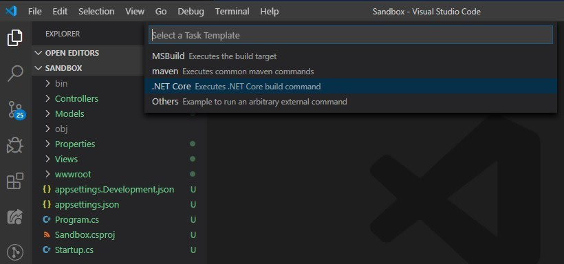 VS Code Command Palette box with tasks creation option selected