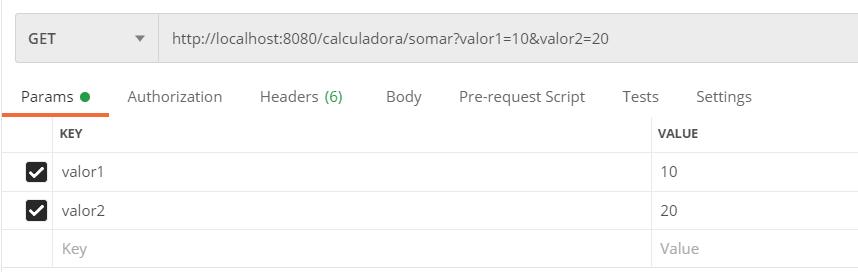 Adicionando parâmetros na API