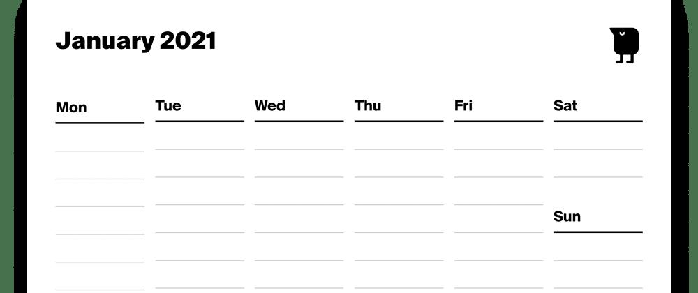 Cover image for Tweek released super slick printable calendar template