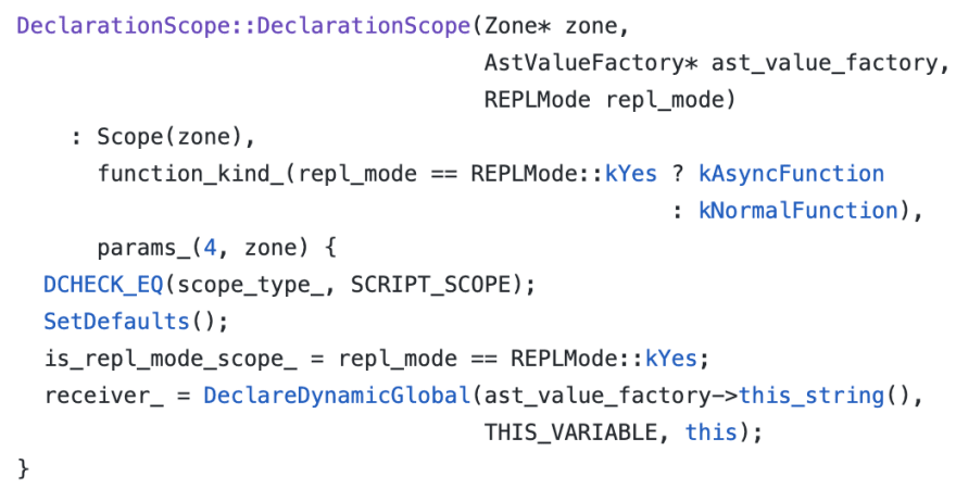 Declare Scope Source Code