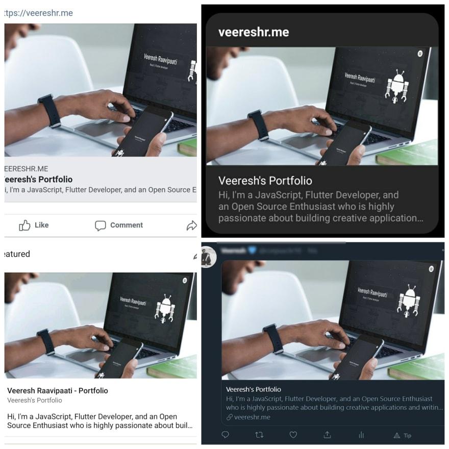 Facebook, Instagram, LinkedIn,Twitter Previews